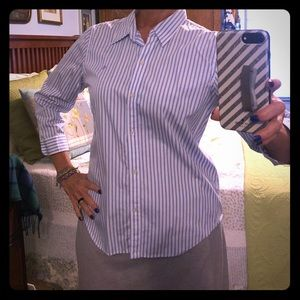 3/4 length sleeves, collared, buttoned shirt